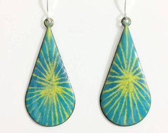 Colorful turquoise, chartreuse green, white enamel copper enameled earrings, copper earrings, hippie earrings, enamel earrings, boho jewelry