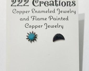 Boho Sun and moon post earrings, celestial earrings, enameled stud earrings, mismatched earrings,  hippie earrings,  tiny post earrings