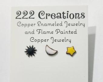 Copper enameled sun, moon, star post earrings, celestial earrings, tiny studs, hippie jewelry,  boho earrings, mismatched earrings