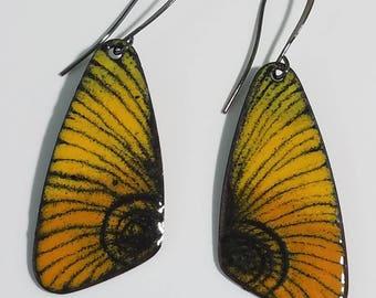 Enameled copper drop earrings, butterfly wing earrings, yellow and black enamel earrings, colorful earrings, boho earrings, hippie earrings