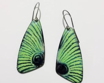 Copper enameled butterfly wing earrings, bright green, and black butterfly wing earrings, sgraffito, green jewelry,  copper