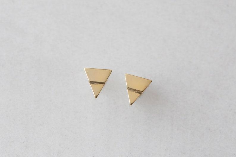 Triangle stud earrings 14k gold plated Dainty earrings