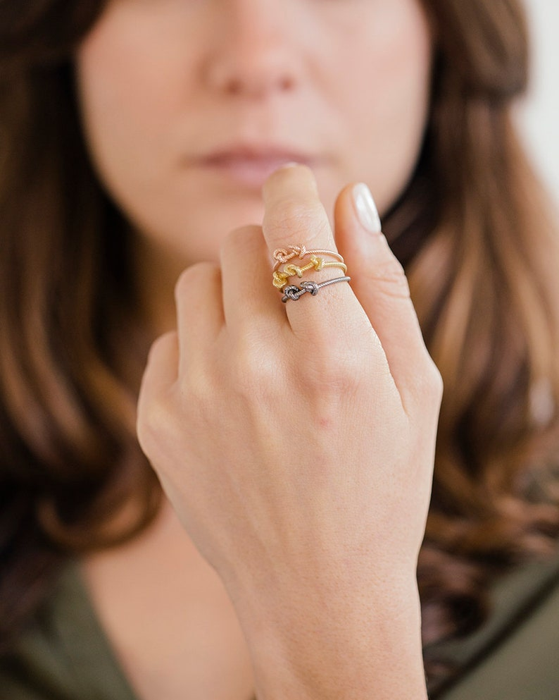 dainty anniversary ring Love knot rose gold rope ring 9K 14K gold gold filled silver