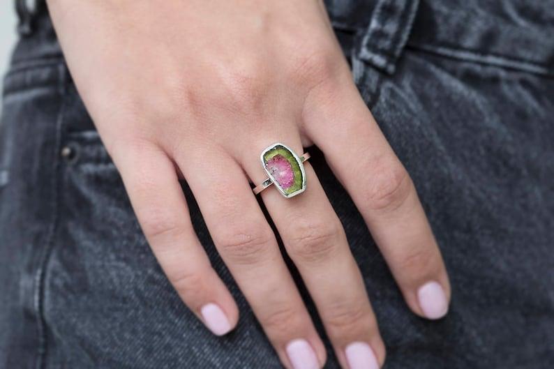 October birthstone ring Natural watermelon tourmaline ring Anniversary ring