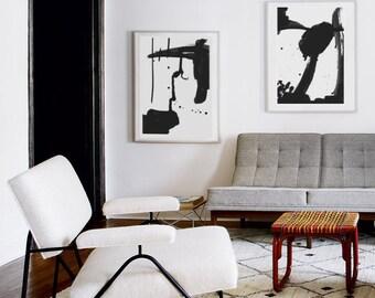 2 dibujos abstractos de gran formato para impresión digital - decoración de pared blanco y negro - varios tamaños gran formato