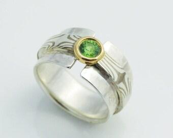 "Ring ""Green fairy"" - Mokume gane gold/Palladium silver & Sapphire"