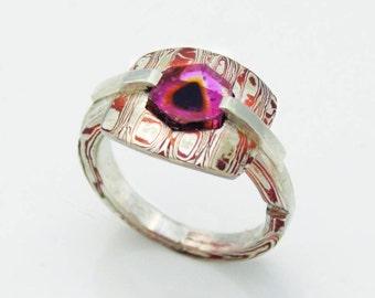 Testudine Kuza - Mokume Gane silver/copper & Tourmaline ring