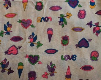90's Nostalgia Fabric/Material Ice Cream Hearts Peace Love Rainbow Doodle Print