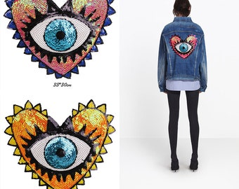 056ad99181e7f HEART SEQUIN PATCH Eyes Love Sew on Patches for Clothes Sequins Clothing  Diy Motif Applique Jacket Badge