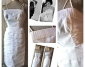 Superb original 1960s little white organza tiered pleat cocktail dress wedding sz xs uk 6 8