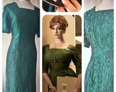 Gorgeous shimmering forest green original 1950s 1960s pencil wiggle dress Mad Men Joan pin up sz Medium UK 10 12