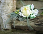 Corsage, Cream Rose and Freesias. Weddings, Proms or Events.
