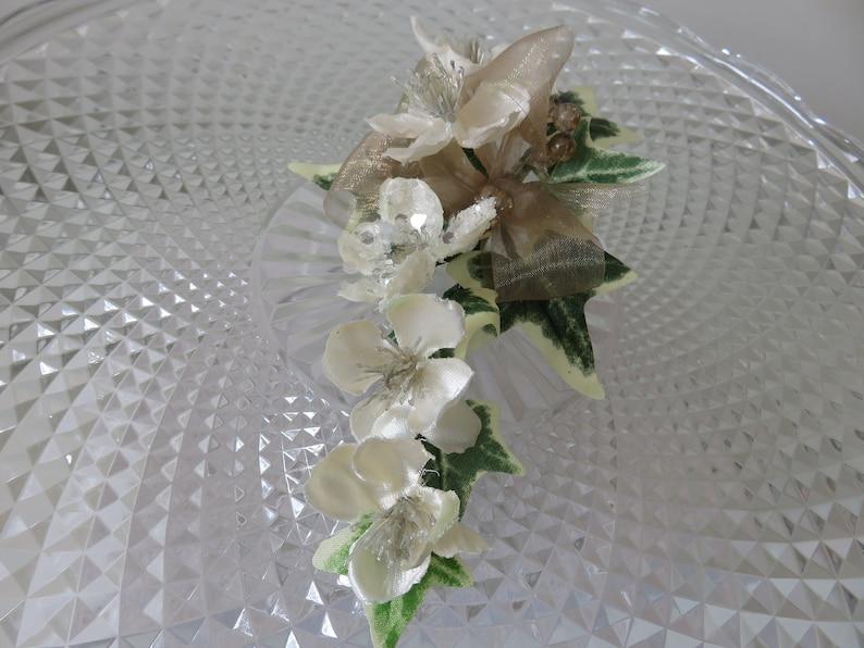 Prom Anniversary. Christmas Rose Corsage Wedding Bronze and Cream
