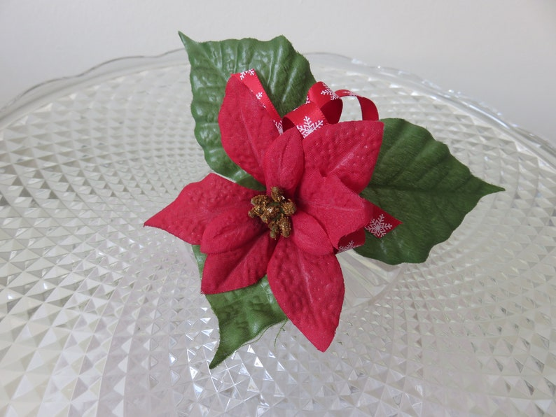 Prom Red Poinsettia Buttonhole Anniversary Wedding Christmas