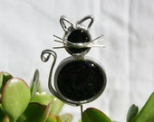 Stained Glass Black Cat Plant Stake