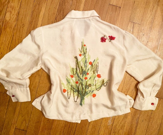 1950s hand painted silk blouse, Christmas, B.H. Wr
