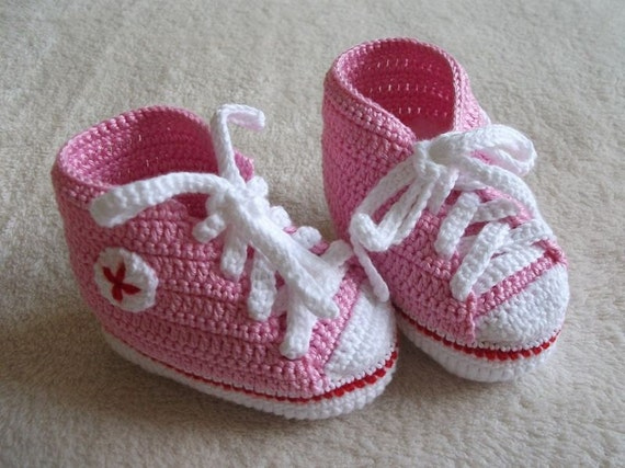 Rosa Baby Chucks Punk Rock Booties Häkeln Baby Booties Rosa Etsy