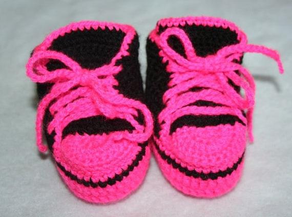 Hot Pink Baby Chucks Schwarzes Baby Mädchen Booties Häkeln Etsy