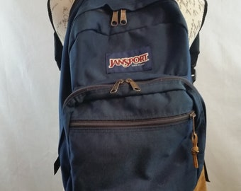 bc00b7e8e8fd Vintage JANSPORT Blue Nylon Tan Suede Backpack Book Bag Day Hiking Rucksack  Trabel Bag made in USA circa 1990 s Very Good Condition