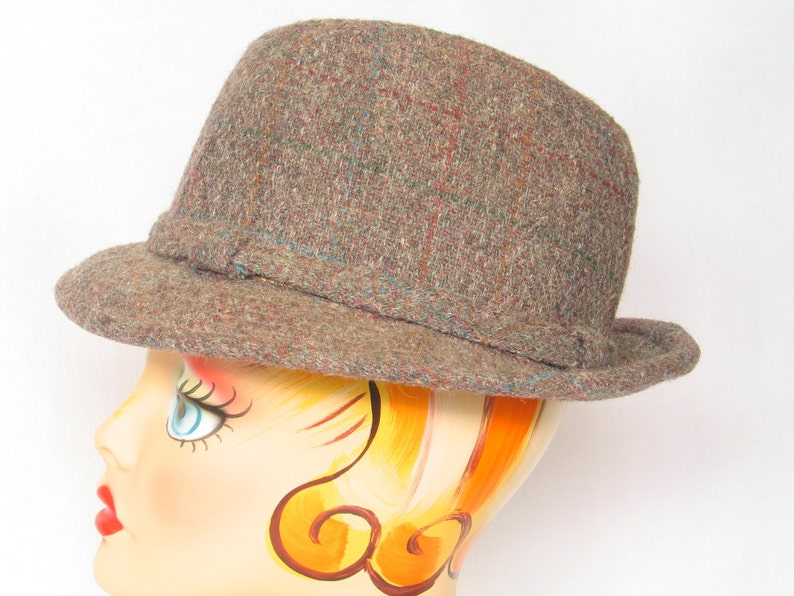 84c2a5cf1 Authentic Men's Tweed Fedora Trilby Hat Hipster British Wool Brooks Woolen  CO made USA men's size Small Unisex excellent vintage condition.