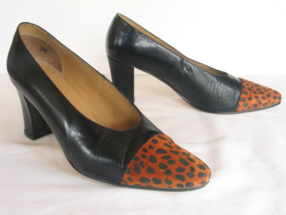 2cbd53ce7dda0 STEPANI Black Leather Leopard Suede Pumps Women's 9 M Business Dress Shoes  in excellent vintage condition.