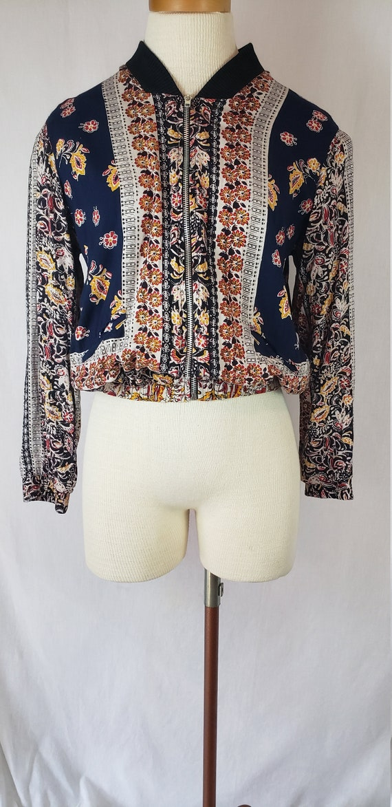 Vintage Angie Women size M Jacket Zipper Front Nav
