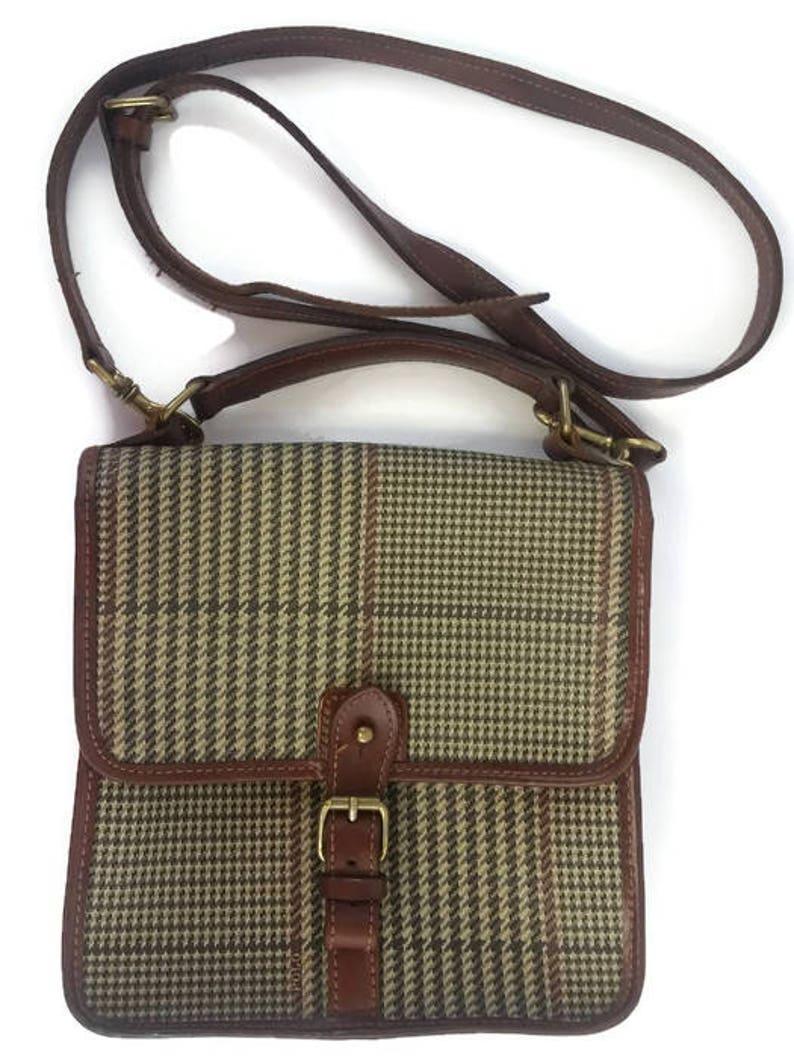 18ddd946f89165 Vintage POLO Ralph Lauren Hahnentritt PVC Brown Aktentasche | Etsy