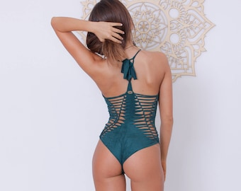 02e20f9da9bf1 Sexy One Piece Green Swimsuit