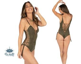 8ef5f362d1aa3a Tie Dye Green Swimsuit, Shabby Green Bodysuit, Thong Swimwear, Sexy Boho  Beachwear, Burning Man Fashion, Burning Man Women