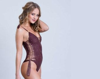 31b63c8b93050 Cut Out One Piece Swimsuit, Brown Swimsuit, Boho Swimwear, Hippie Clothes,  Sexy Burning Man Women, Beachwear For Women, Bodysuit (