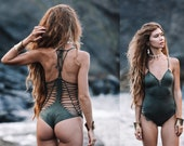 Olive Green Thong Swimsuit, Yoga Activewear, Boho Bodysuit ( quot DORIN quot ), Holidays Gifts For Her