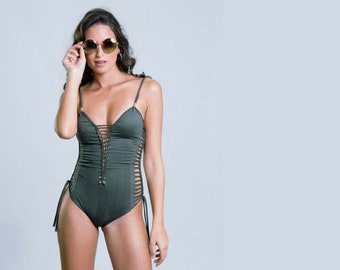 bcf3a70c94 Sexy One Piece Olive Green Swimsuit