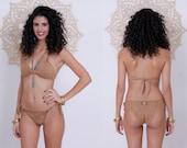 Nude Color Bikini, Naked Bikini, Sexy Beige Bikini Set, Boho Bikini, Brazilian Bikini, Unique Two Piece Bikini, Cheeky Bikini, Tribal Bikini