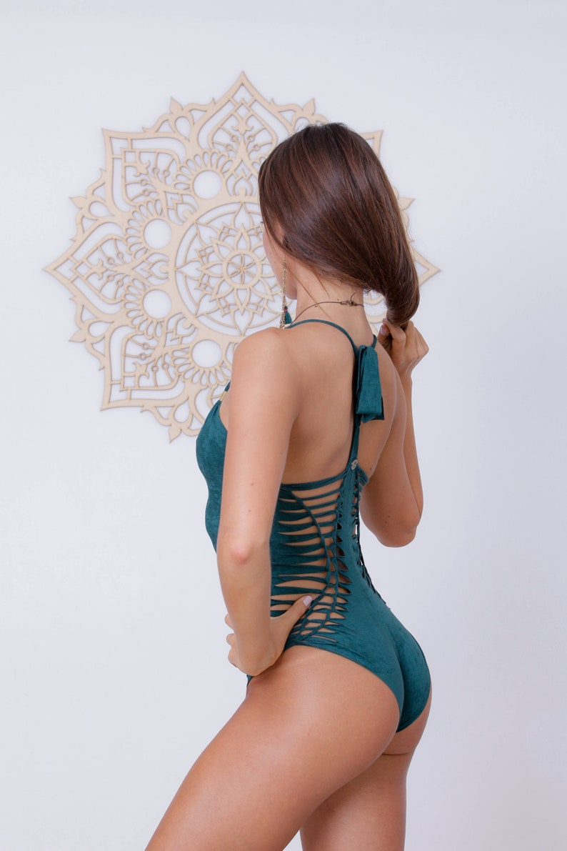 d71fead89d Sexy One Piece Green Swimsuit