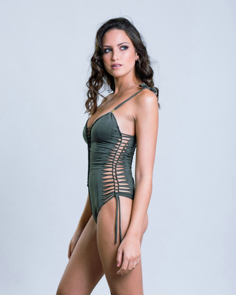 0bbe826e95 Sexy One Piece Olive Green Swimsuit