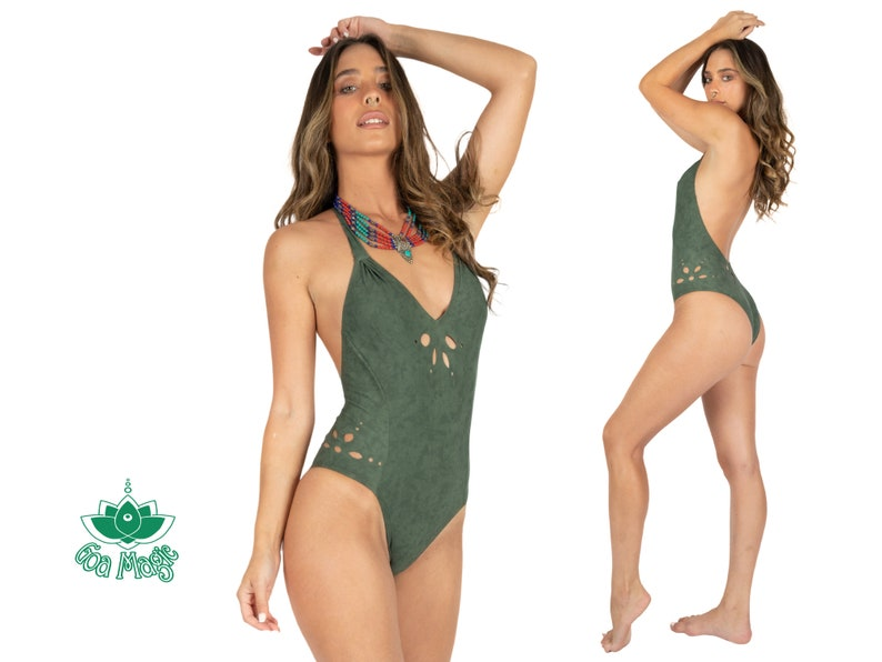 Cut Out One Piece Swimsuit Cheeky Swimsuit Bodysuit For Women Green Swimwear Womens Boho Swimsuit One Piece Bathers