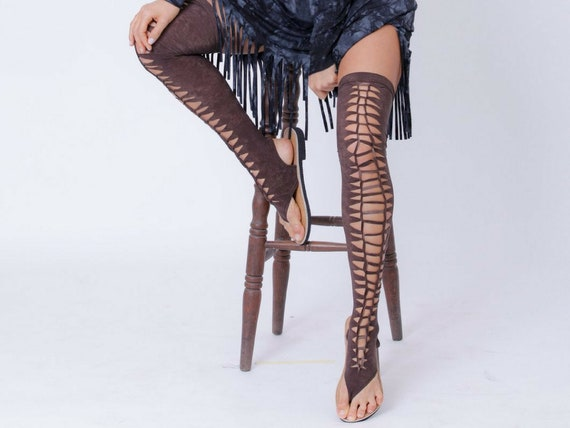 Thigh High Gladiator Sandals, Flat Shoes For Women, Brown Sandals, Long Strap Sandals, Over The Knee Sandals, Vegan Sandals, Boho Sandals