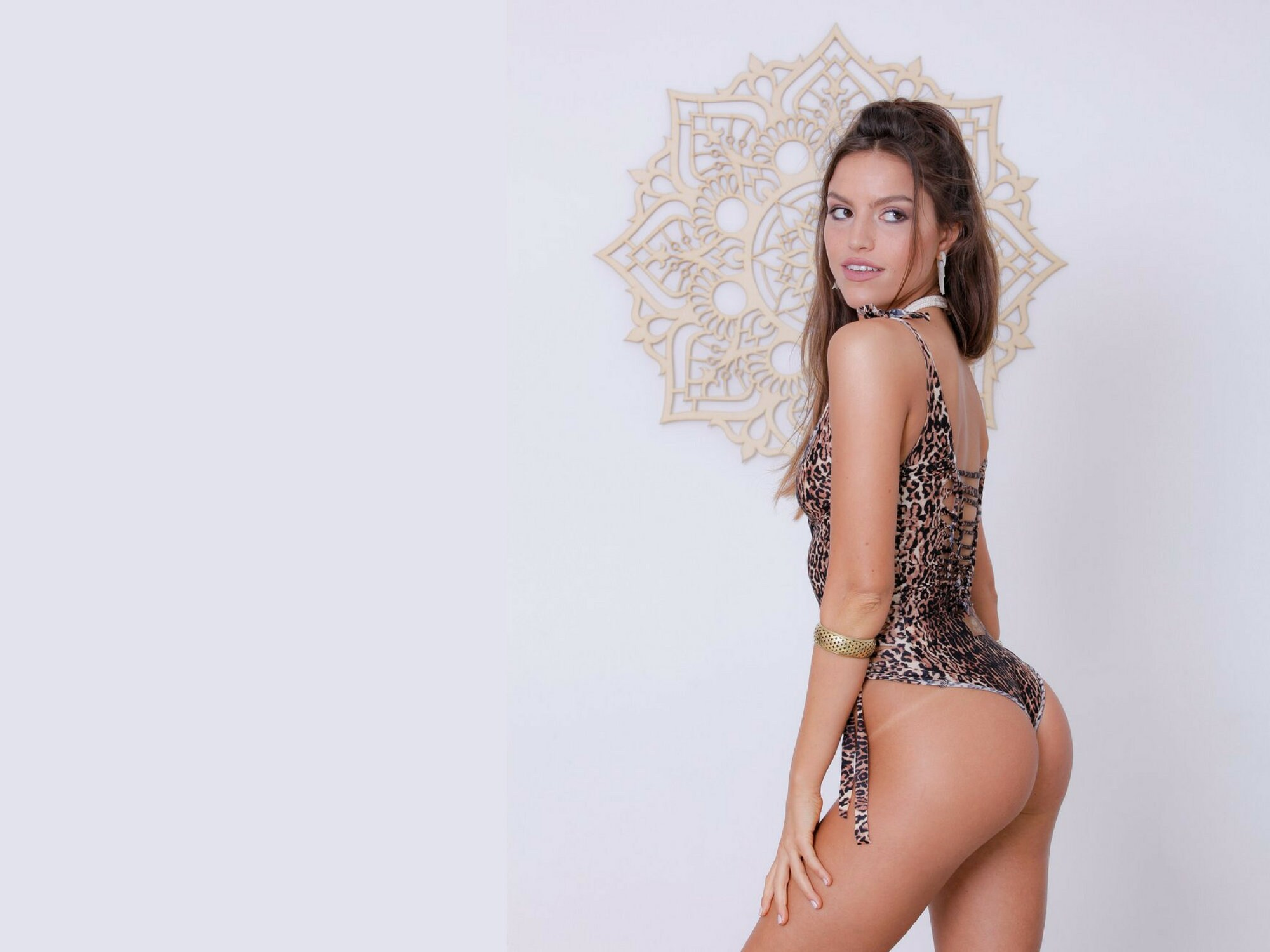 d69b00d91be9f Sexy One Piece Thong Swimsuit Braided Bathing Suit Leopard