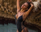 Cheeky Black One Piece Swimsuit, Womens Boho Bathing Suit, Tribal Swimsuit, Sexy Cheeky Swimsuit, Cut Out Swimwear, Festival Bodysuit