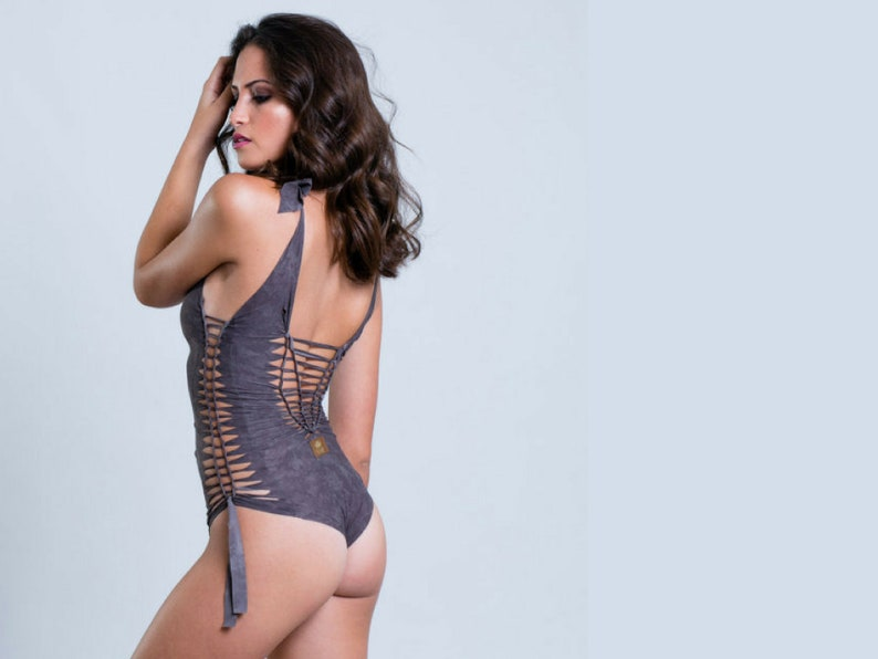 88f2b118a9 Sexy One Piece Swimsuit Thong Bathing Suit Grey Bodysuit   Etsy
