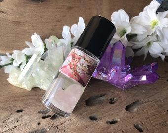 Rose Quartz - Vegan Rollerball Perfume Oil - 1 Ounce - Healing Wicca Real Gemstones