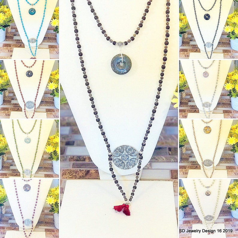 Beaded Wood and Semi-Precious Stone Necklace Sets