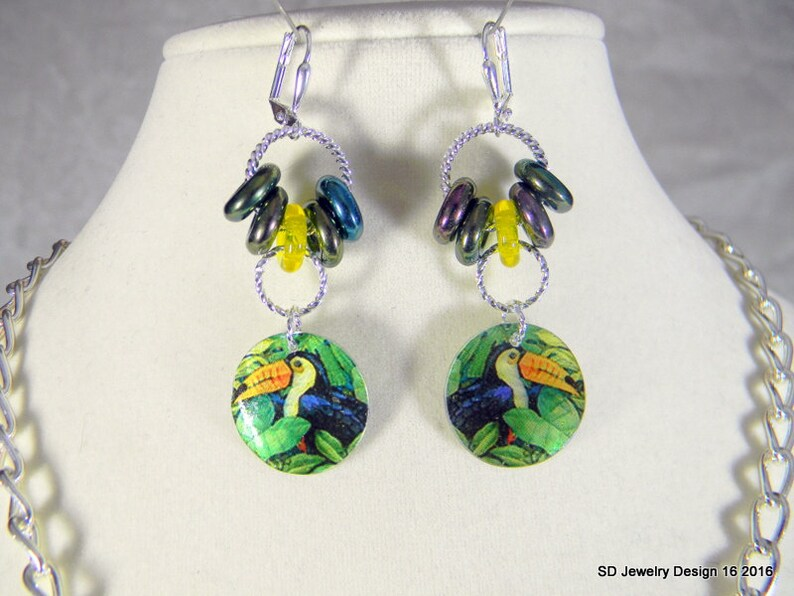 Toucan Necklace and Pierced Earring Set