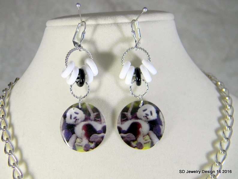 Panda Necklace and Pierced Earring Set