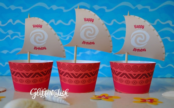 image relating to Moana Sail Printable referred to as Moana cupcake topper sails and wrappers for birthday social gathering