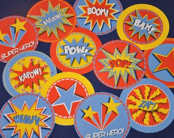 Super Heroes party pdf printable cupcake toppers and wrappers INSTANT DOWNLOAD circle favor tags for superhero birthday party