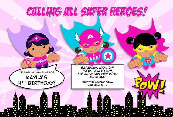 image relating to Printable Heroes Pdf referred to as Traveling Tremendous Heroes invitation pdf jpg printable Custom made in just fuchsia red turquoise for african american superhero female birthday get together