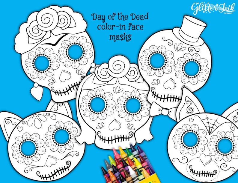 Dia De Muertos Day Of The Dead Color In Sugar Skull Face Mask Etsy