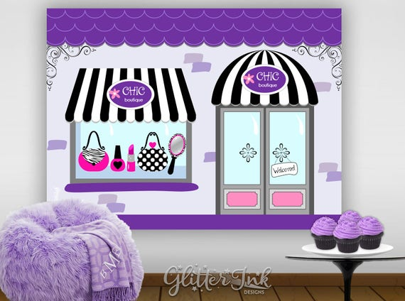 Chic boutique diva glam spa party printable poster dessert table backdrop photo prop wall art Paris fashion salon purple black fuchsia