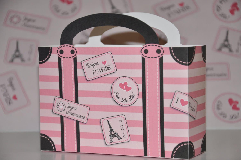 Paris Party Suitcase Favor box soft pink pdf printable Pink   Etsy